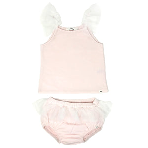 oh baby! Frill Tank and Tushie Set with Ivory Mesh Trim