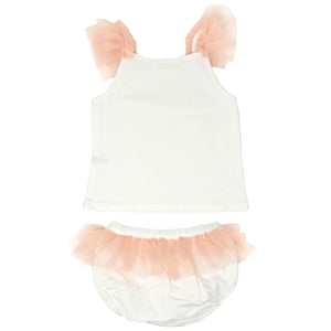 oh baby! Frill Tank and Tushie Set with Apricot Mesh Trim