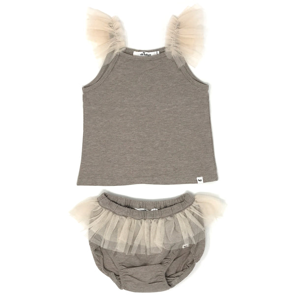 oh baby! Frill Tank and Tushie Set with Ecru Mesh Trim