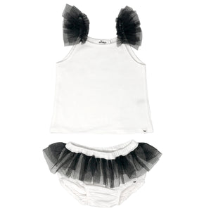 oh baby! Frill Tank and Tushie Set with Black Mesh Trim