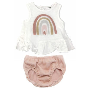 oh baby! Dolly Ruffle Slub and Stardust Tushie Set - Rainbow
