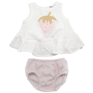 oh baby! Dolly Ruffle Slub and Stardust Tushie Set - Strawberry