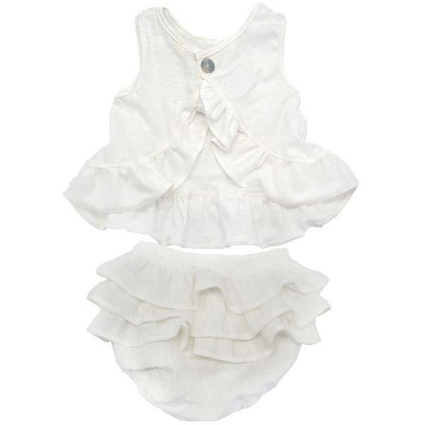 oh baby! Dolly Knit Ruffle Top and Tushie Set - Cream - oh baby!