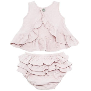 oh baby! Dolly Knit Ruffle Top and Tushie Set - Petal Pink - oh baby!