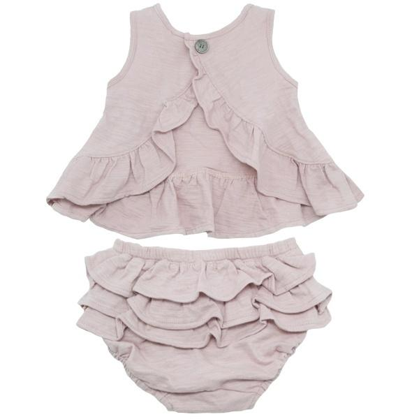 oh baby! Dolly Knit Ruffle Top and Tushie Set - Blush
