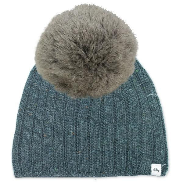 oh baby! Flat Knit Dappled Hat w/ Snap Fur Pom, Turquoise