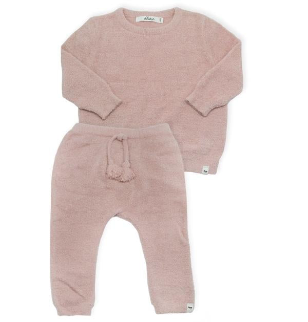 oh baby! Fuzzy Knit Brooklyn Boxy & Pant Set - Blush