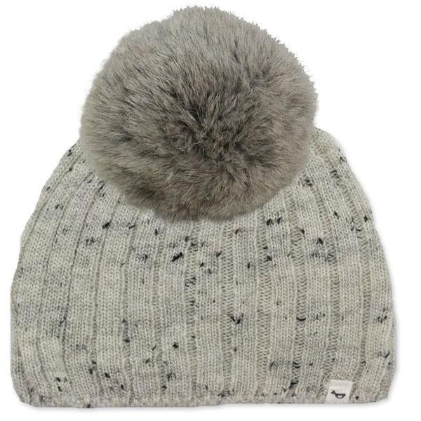 oh baby! Flat Knit Dappled Hat w/ Snap Fur Pom, Light Gray