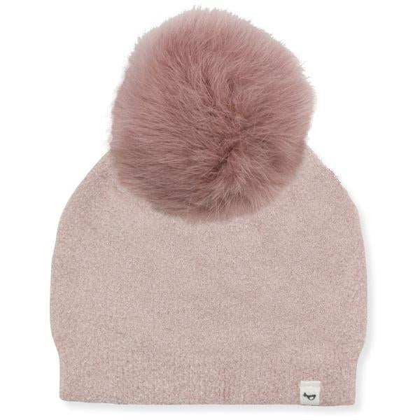 oh baby! Fuzzy Knit Snap Fur Pom Hat, Blush