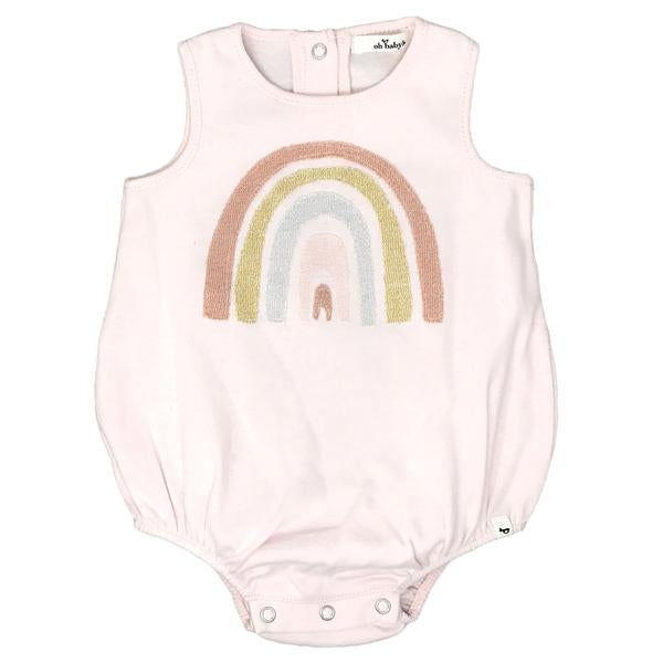 oh baby! Cotton Bubble Onesie - Stardust Rainbow - Pale Pink