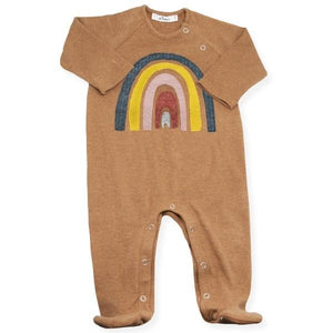 oh baby! Snap Neck Onesie Footie with Rainbow - Rust