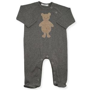 oh baby! Snap Neck Onesie Footie with Tan Bear - Charcoal