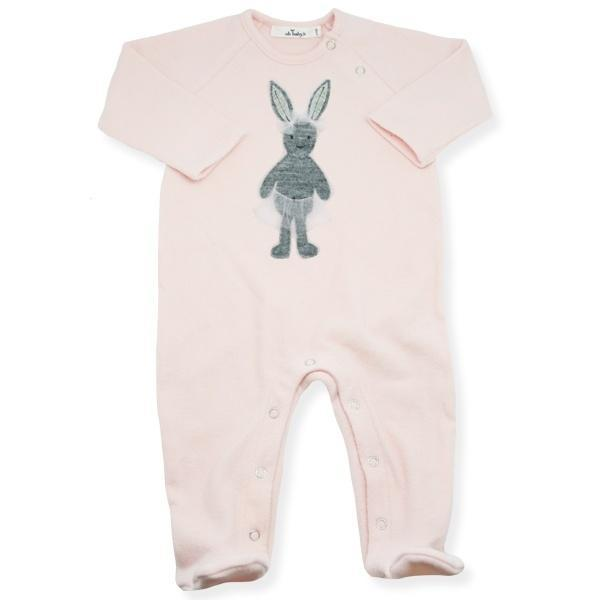 oh baby! Onesie Footie with Stardust Silver Ballerina Bunny with Pink Tutu Skirt - Brushed Pale Pink