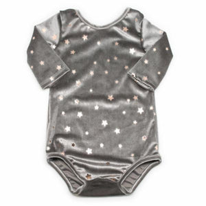 oh baby! Starry Velvet Leotard, Gray with Light Rose Gold Foil