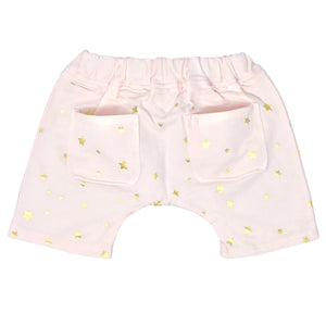 oh baby! Mini Jogger Shorts - All Over Gold Foil Stars - Petal Pink