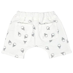 oh baby! Mini Jogger Shorts - All Over Ice Cream Cones Black - Cream