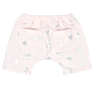 oh baby! Mini Jogger Shorts - All Over Silver Foil Unicorns - Petal Pink