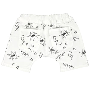 oh baby! Mini Jogger Shorts - All Over Pow Print Black - Cream