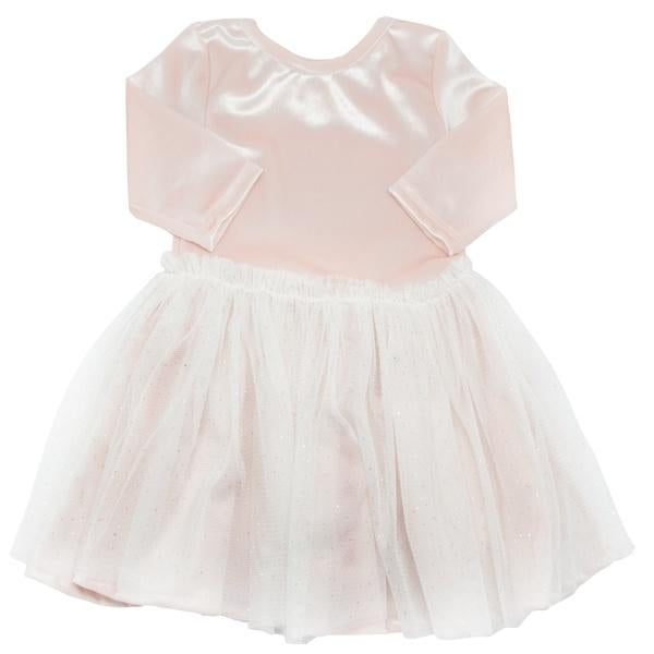 oh baby! Ballet Velvet Dress, Pale Pink With Ivory/Gold