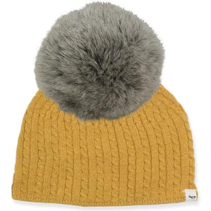 oh baby! Cable Knit Hat w/ Snap Fur Pom, Mustard
