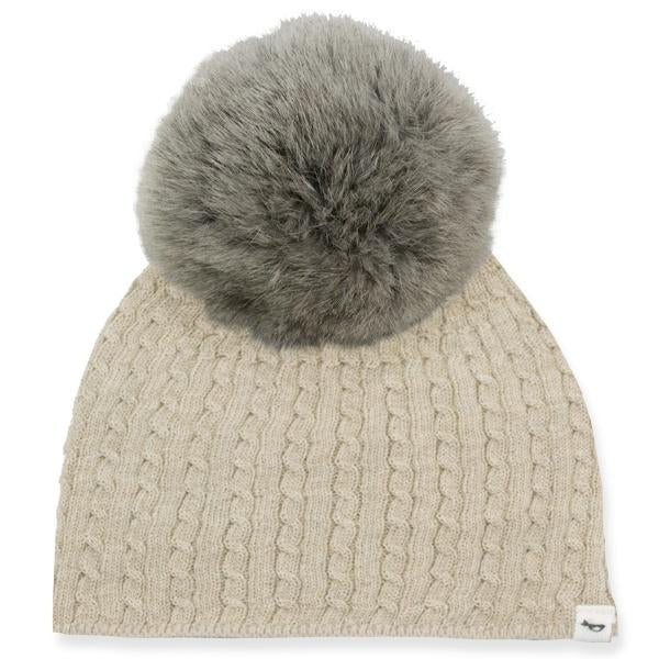 oh baby! Cable Knit Hat w/ Snap Fur Pom, Sand