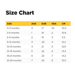 Old Soles shoe size chart