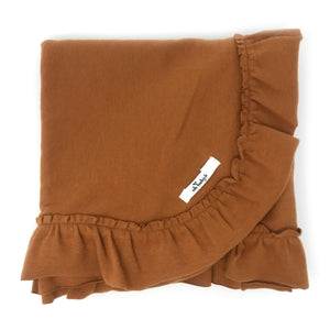 oh baby! Ruffle Trimmed Layette Blanket - Rust