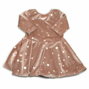 oh baby! Starry Velvet Dress, Dusty Pink with Light Rose Gold Foil