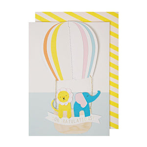 Meri Meri Hot Air Balloon Congratulations Greeting Card - oh baby!