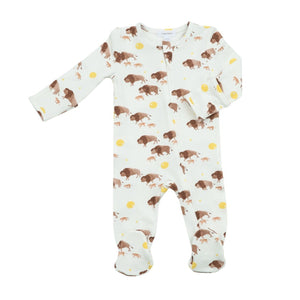 angel dear bison zipper footie