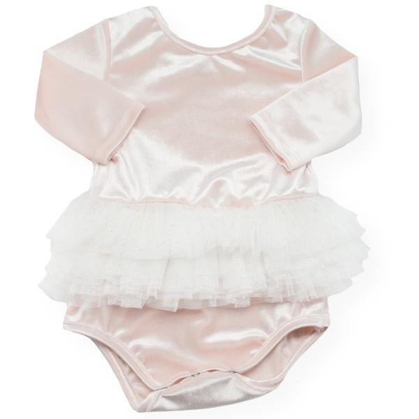 oh baby! Ballet Velvet Snap Leotard, Pale Pink with Ivory/Gold
