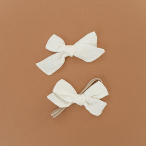oh baby! School Girl Bow Linen Hair Clip Large - Cream