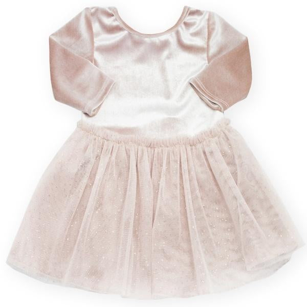 oh baby! Ballet Velvet Dress, Dusty Pink With Champagne/Gold