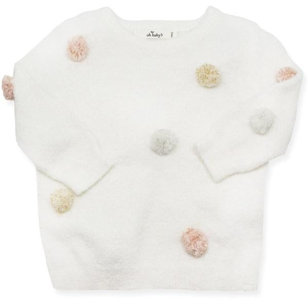 oh baby! Fuzzy Knit Brooklyn Boxy w/Stardust Mini Yarn Pom, Infant, Cream