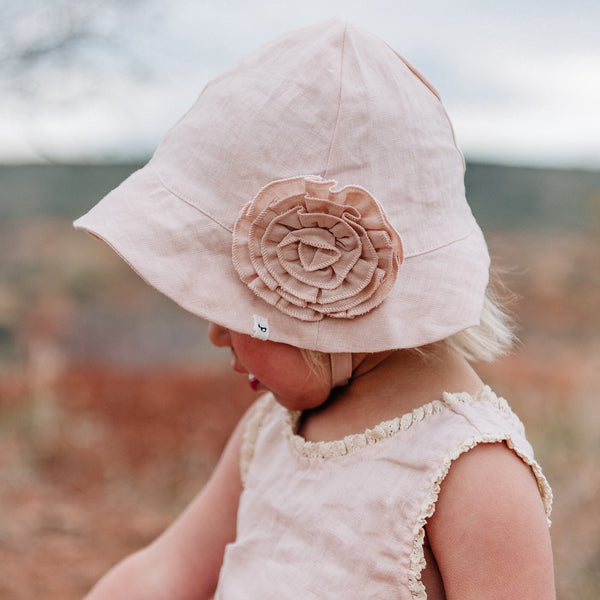 oh baby! Sun Hat Linen with Frill Flower Pin - Apricot