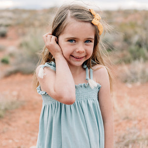 oh baby! Gidget Smocked Dress - Misty Blue