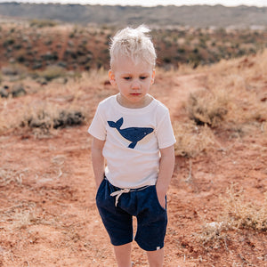 oh baby! Moby Whale Indigo Short Sleeve Tee - Cream