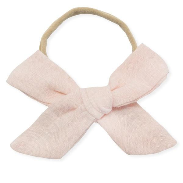 oh baby! School Girl Bow Linen Nylon Headband - Large Bow - Apricot