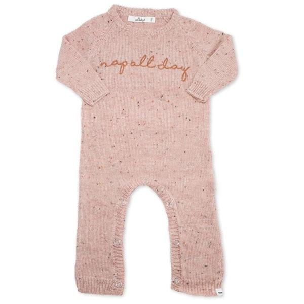 "oh baby! Flat Knit Dappled Romper ""nap all day"", Pale Pink"