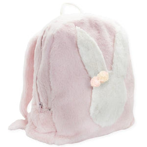 oh baby! Children's Fur Backpack, Snow Bunny with Poms in Pale Pink