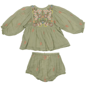 Pink Chicken Ava Bella 2-Piece Set - Green Tea w/ Multi Embroidery