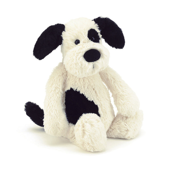 Jellycat Bashful Black & Cream Puppy Plush Stuffed Animal - Medium - oh baby!