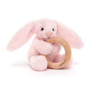 Jellycat Wooden Ring Rattle - Bashful Blush Bunny