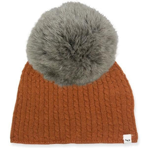 oh baby! Cable Knit Hat w/ Snap Fur Pom, Rust