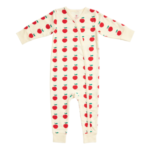 Pink Chicken Organic Romper - Antique White Apples