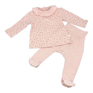 Baby Snap Footie Two Piece Set with Ruffle Collar - Pink