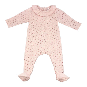 Baby Snap Footie with Ruffle Collar - Pink