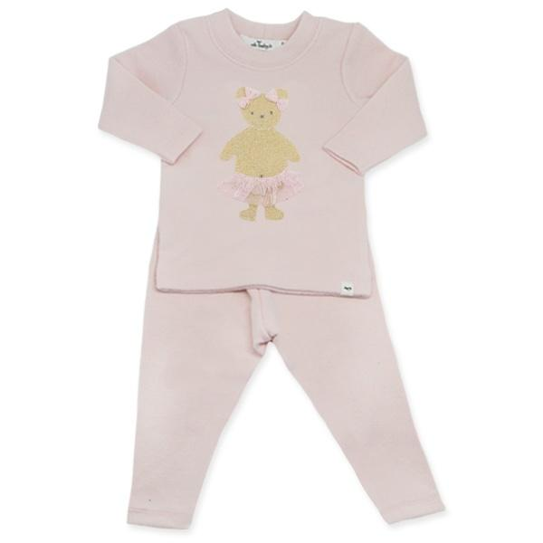 oh baby! Two Piece Set - Stardust Gold Ballerina Bear with Pink Tutu Skirt - Brushed Pale Pink