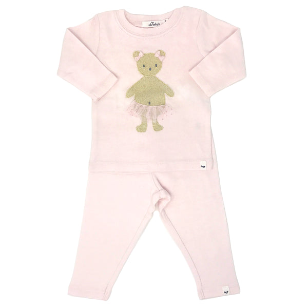 oh baby! Two Piece Set - Stardust Gold Ballerina Bear - Pale Pink