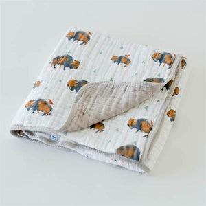 little unicorn Cotton Muslin Baby Quilt - Bison - oh baby!